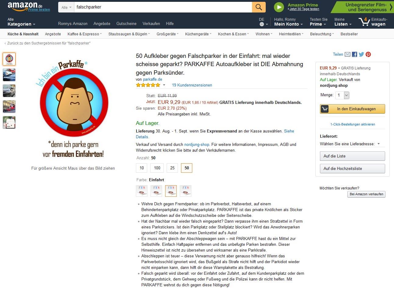 Amazon altes Design Produktseite