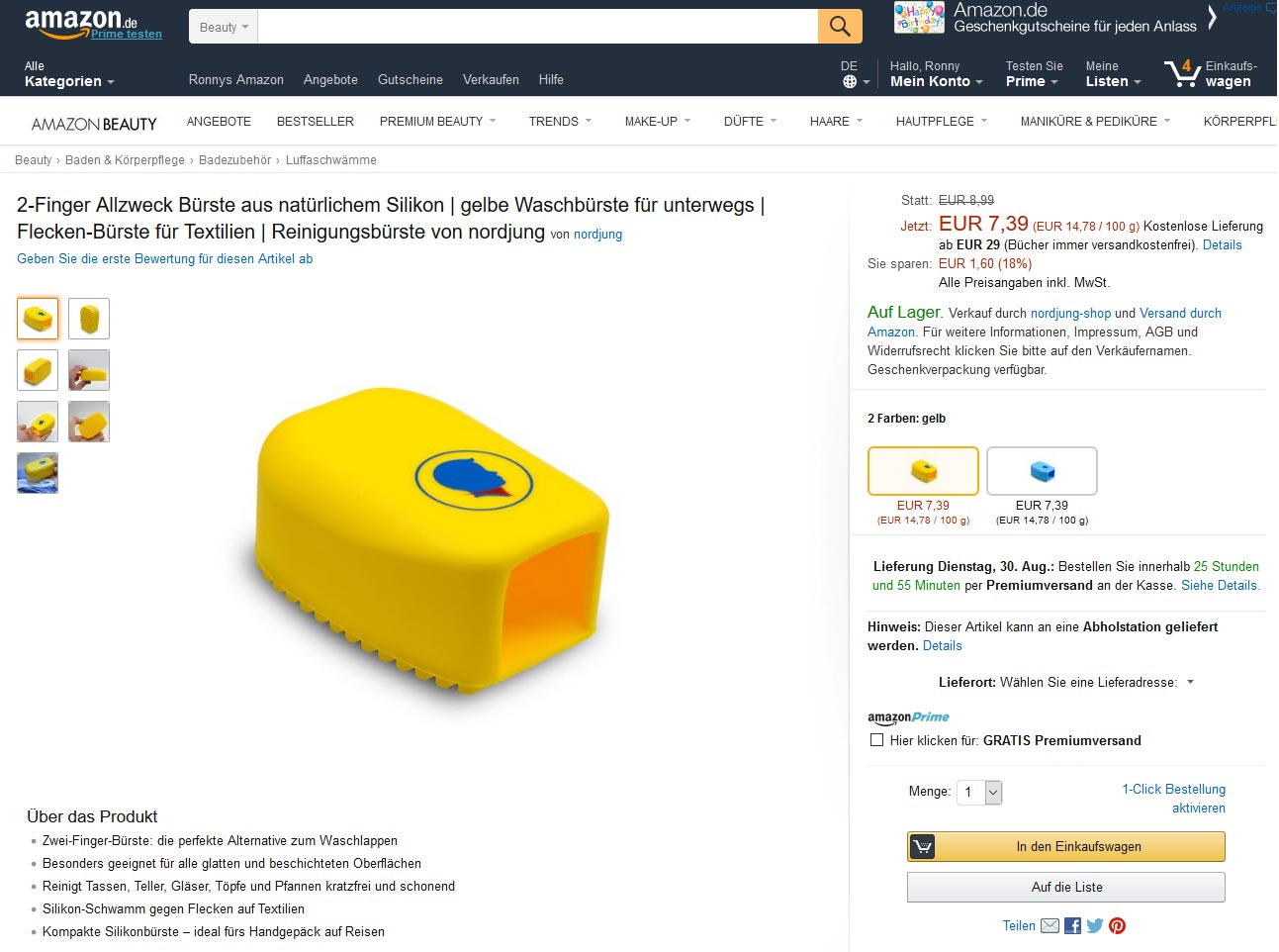 Amazon neues Design Produktseite