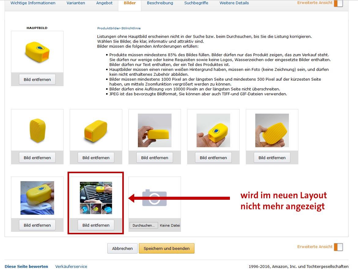 Amazon SellerCentral Bilder-Upload