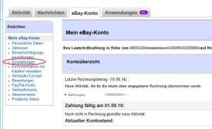 eBay Kontoeinstellungen