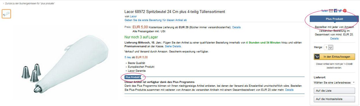 Amazon-PlusProgramm-Produktseite