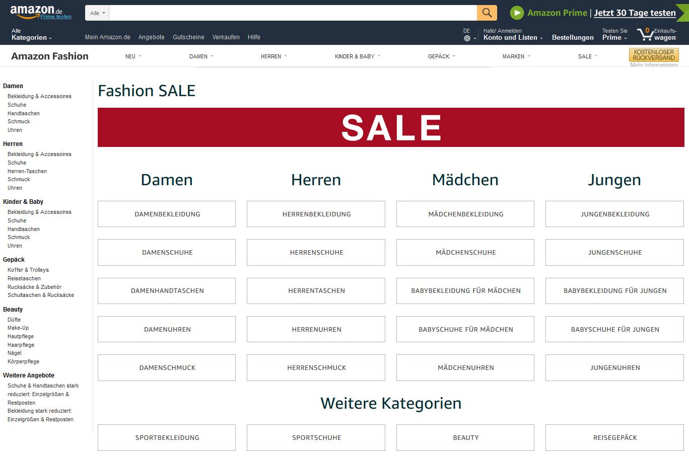Amazon Sale Abverkäufe