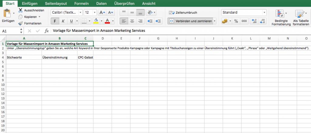 Excel Datei Bulk Import