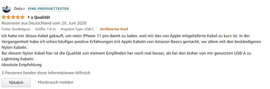 Amazon-Vine-Produkttester-Bewertung