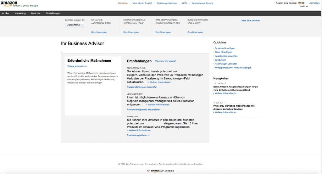 Amazon-vendor-central dashboard