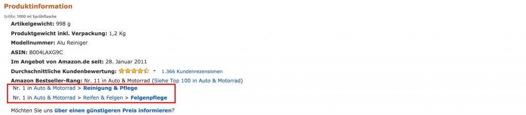 Platz 1 auf Amazon