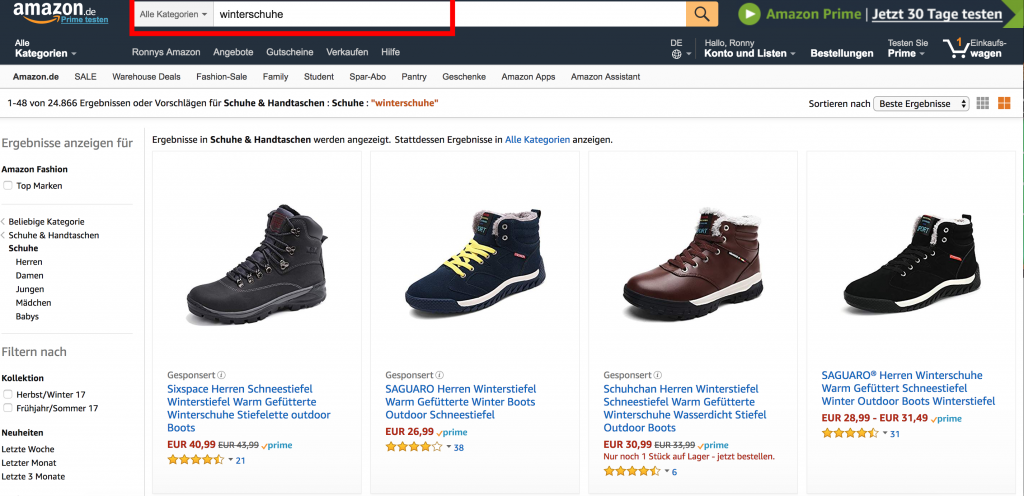 Shorttail Keyword auf Amazon