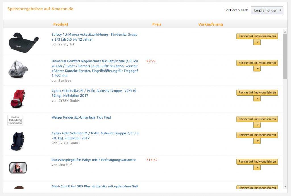 amazon partnernet produktlinks suchergebnisse