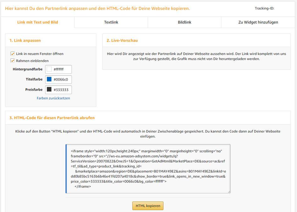 amazon partnernet produktlinks suchergebnisse individualisieren 1-2